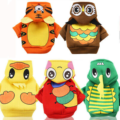 Warm Dog Clothes Jumpsuit Cartoon Prints Small Dog Hoodie Winter Puppy Costume