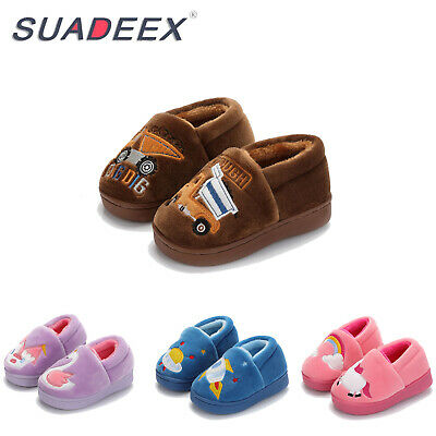 Boys Girls Winter Warm Cute Fur Lined Home Slippers Kids Indoor House Shoes UK