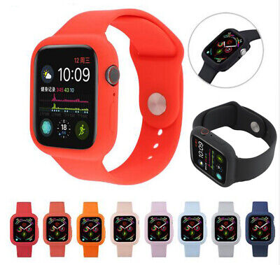 Silicone Band Strap+Armor Case Cover For Apple Watch Series 1234 38/42/40/44mm