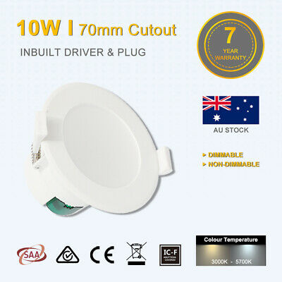10W Led Downlight 70mm Cutout Dimmable/Non Dim Warm/Daylight White Saa IC-F IP44