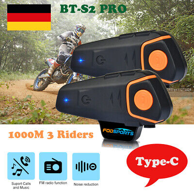 2x BT-S2 Motorrad Intercom Bluetooth Headset Helm Sprechanlage Multi Interphone