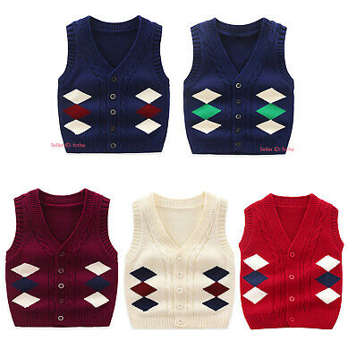 Kids Baby Knit 100% Cotton Knitted Tank Top Sweater Vests Cardigans Waistcoat