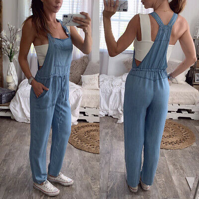 Womens Pocket Denim Jumpsuit Jeans Retro Loose Overall Dungarees Trouser Romper