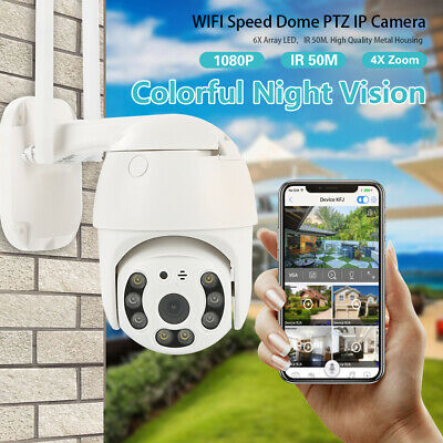 Wireless PTZ 4X ZOOM 2-Way CCTV 1080P WIFI IP Dome Security Camera Outdoor uk