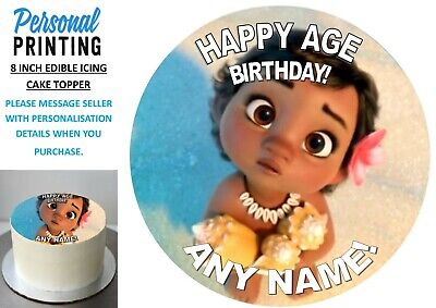 Pp - Baby Moana 8 Inch Icing Cake Topper Personalised Decoration Birthday