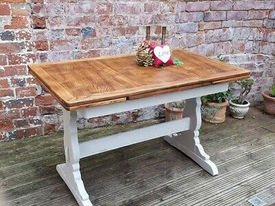 French style painted ercol draw leaf table.. Oak.. Restored