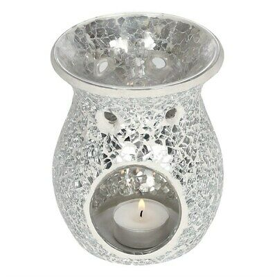 Large Silver Oil Burners Crackle Candle Wax Home Scent Gift Ob_10738