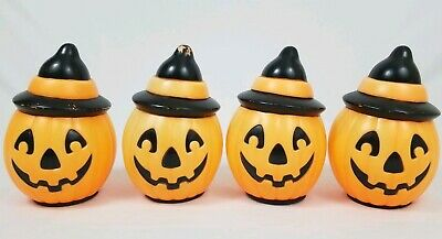 4 Vintage 1995 Halloween Empire Plastic Blow Mold Pumpkin Witch Hat Light Up 8""