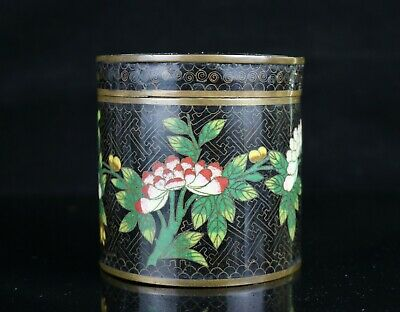 Antique Chinese Cloisonne Round Covered Box Jar ~ Flower Motif