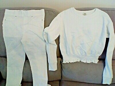 Girls extra small RIVER ISLAND white JUMPER and jeggings bundle size 8