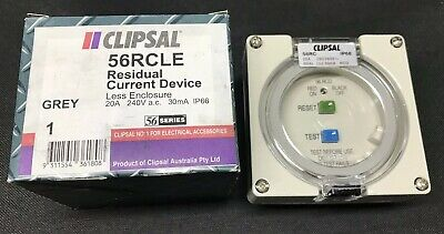 Clipsal 56RCLE - 20A 240VAC 30mA IP66 56 Series RCD Less Enclosure 56RC Grey