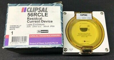 Clipsal 56RCLE - 20A 240VAC 30mA IP66 56 Series RCD Less Enclosure 56RC White