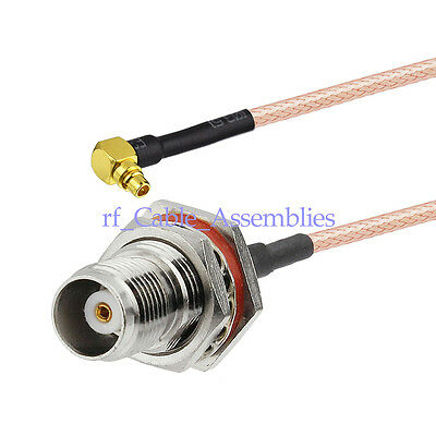 """TNC female bulkhead O-ring to MMCX male right angle RA RF pigtail cable RG316 6"""""""