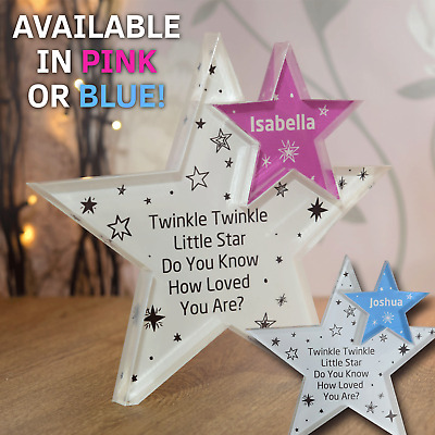 Personalised Newborn Baby Boy or Girl, Gift Present Christening Keepsake Star