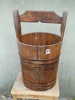 Ancient Large Wooden Bucket Water Well from Wood Rustic (87)