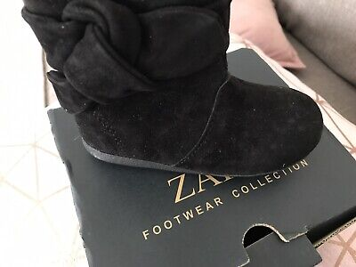 Zara Girls Black Boots With Bow New In Box Eur 21,uk4.5