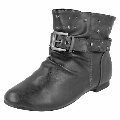 Girls Kids Black Flat Pull-On Slouch Cowboy Ankle Boot Childrens Shoes Size 13-6