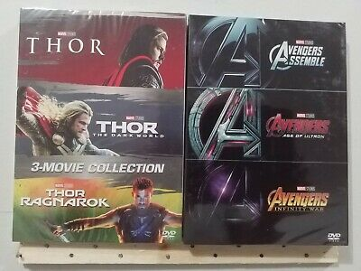 THOR 1-3 and Avengers 1-3 Collection DVD Box Set New & Sealed with Slipcover