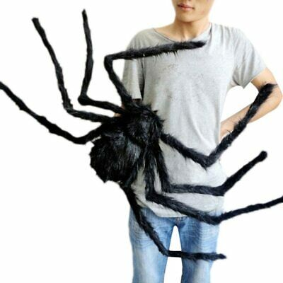 Giant Spider Halloween Decor Plush Black Red Eyes Spider Prop Haunted House