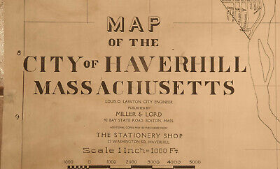 """Huge """"MAP OF THE CITY OF HAVERHILL, MASSACHUSETTS"""" by Miller & Lord -  c1875"""