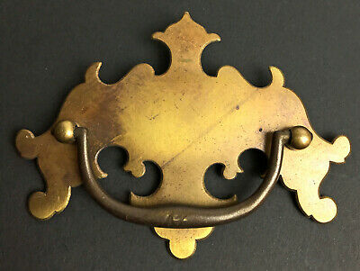 """Vintage 3"""" OC Chippendale Batwing  Solid Brass Drawer Pull"""