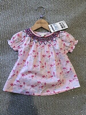 jojo maman bebe Baby Girls Flamingo Top 6-12 Months New With Tags