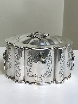 Antique Victorian English Silver-Plate Biscuit Tea Caddy Lion Head Signed Stamp