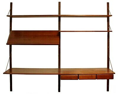 Mid Century Modern Danish Wall Mounted Floating Shelving Unit Poul Cadovious