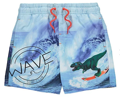 Boys Surfing Dinosaur Swimming Trunks Board Shorts Ages 3 to 10 - New With Tag