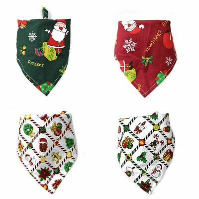 100pcs Christmas Pet Bandanas Adjustable Dogs Cat Scarf Santa Snowman Grooming