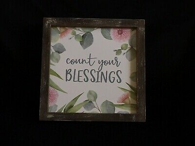 CUTE Blue /& Black 8x10 Sign COUNT YOUR BLESSINGS Shabby-Vintage Decor-Saying