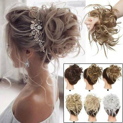 Deluxe Thick Messy Bun Hair Scrunchie Updo Hairdo Curly Hair Extensions as Human