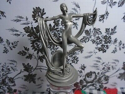 """Vintage Art Deco Style Pewter Nude Dancing Lady Figurine 3-3/4"""" Tall Pre-owned"""