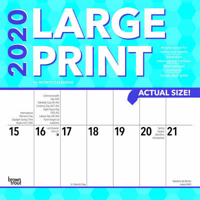 2020 Big Grid Large Print Square Wall Calendar Extra Large Spaces 4 Planning