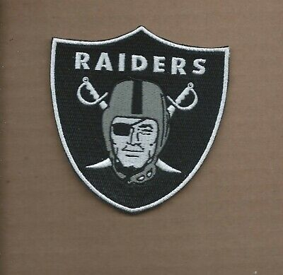 New 3 7/8 X 4 Inch Oakland Raiders Shield Iron On Patch Free Shipping P1