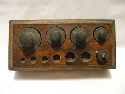 Vintage Antique 5 Solid Brass Scale Weights 200 2-100 50 20 Grames n Wooden Box
