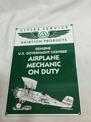 Ande Rooney Cities Service Airplane Mechanic Duty Porcelain Aviation Sign Retro