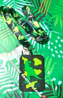 Smiggle Chaos Scented Silicone  Lanyard Card Holder Green Dino, Dinosaurs