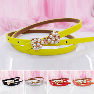 1 Pcs Toddler Candy Color Waist Belt Buckle PU Leather Kids Girls Boys Waistband