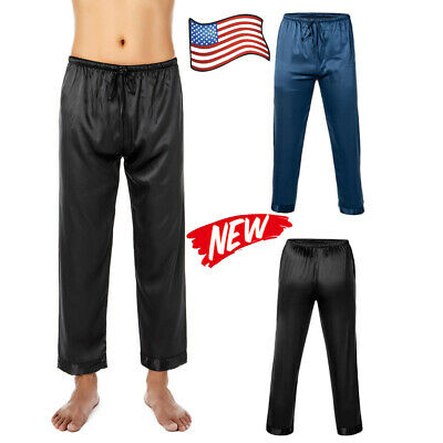 USA Men's Polyester Lounge Sleep Pajama Pant Sleep Bottoms with Drawstring L-3XL