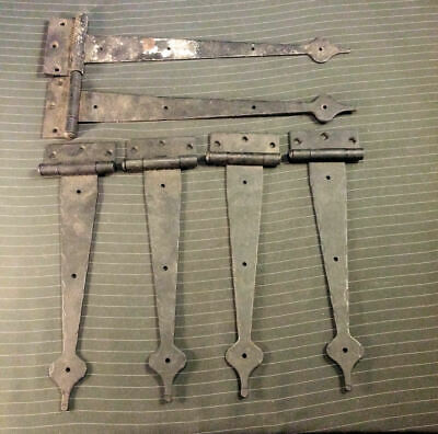 """6-Lot """"Wrought Iron"""" Strap Hinges ~Spear Point 4) 11"""" Long 2) 14"""" ~Stamped Steel"""