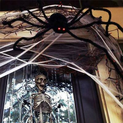 200CM/6.6FT Plush Giant Spider Decoration Halloween Garden Haunted Props Ho F0Y9