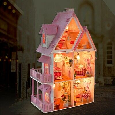Handcraft Doll House DIY Miniature Project Kit Gift My Pink Little House