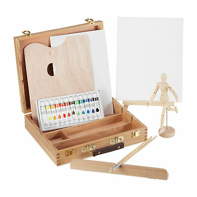 Art Set Wooden Case Complete Paint Box Set 22-Piece Wooden Box Set