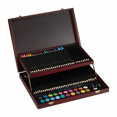 Art Case Drawing Paint Set Colour Pencils Art Set Artist Case 73-Piece Wood