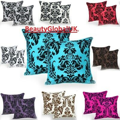 "English Damask Luxury Flock Cushion Covers For Sofa Decoration 18""X18"""