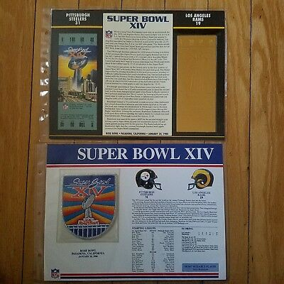 Super Bowl XIV 14 Los Angeles Rams vs. Pittsburgh Steelers Jersey Patch & Ticket