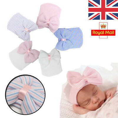 UK Baby Girls Boys Infant Striped Soft Hat with Bow Hospital Newborn Beanie Cap