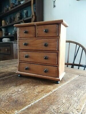 Miniature Pine Chest Of Drawers Antique Edwardian apprentice piece