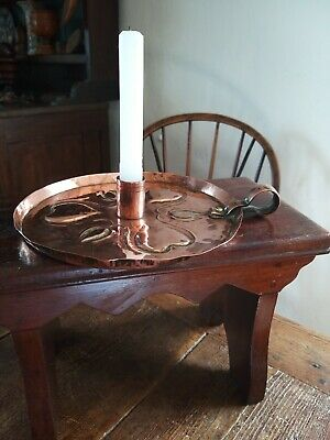 Arts And Crafts Copper Chamber Stick Candlestick Hearts Valentines Day Love